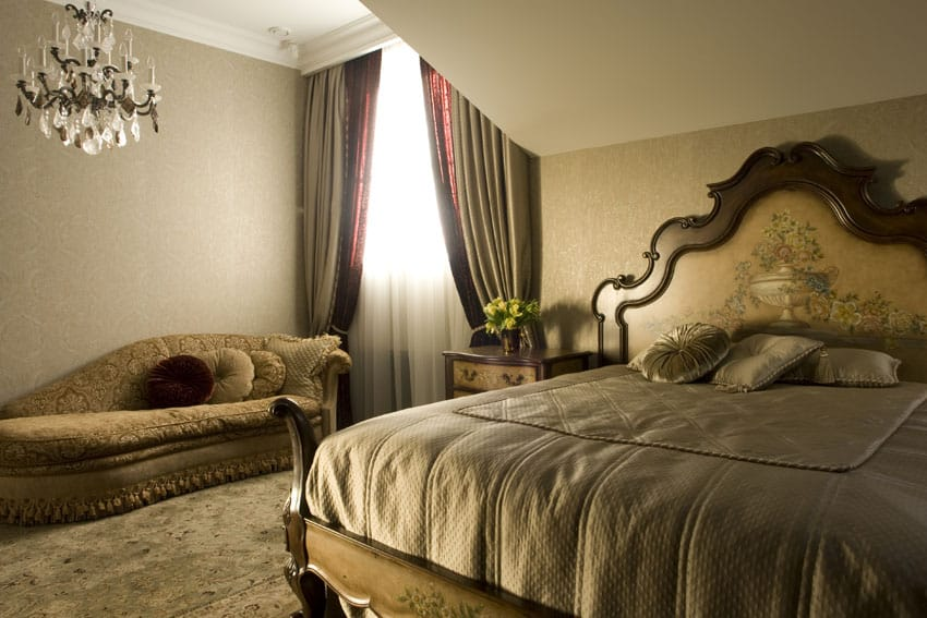 Gold master bedroom with luxury furnishings