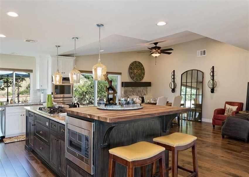 Kitchen with butcher block counter breakfast bar island