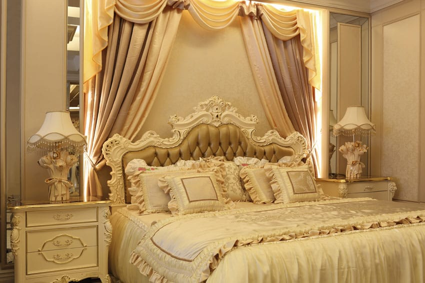 Lacy bedroom design with headboard bed curtains