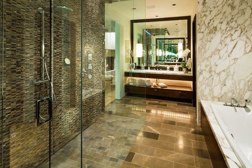 Large walk in rainfall shower with glass tile
