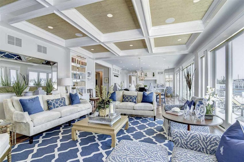 Luxury blue and white themed living room design