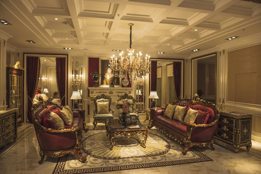 Luxury formal living room with antique furniture pieces