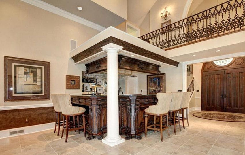 Luxury home bar with decorative wood cabinet
