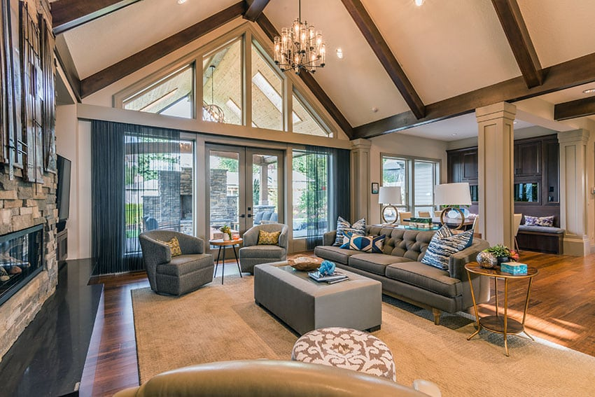 Luxury living room with cathedral ceiling and grey furniture