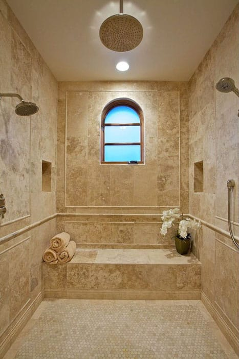 Luxury Mediterranean shower with rainfall head