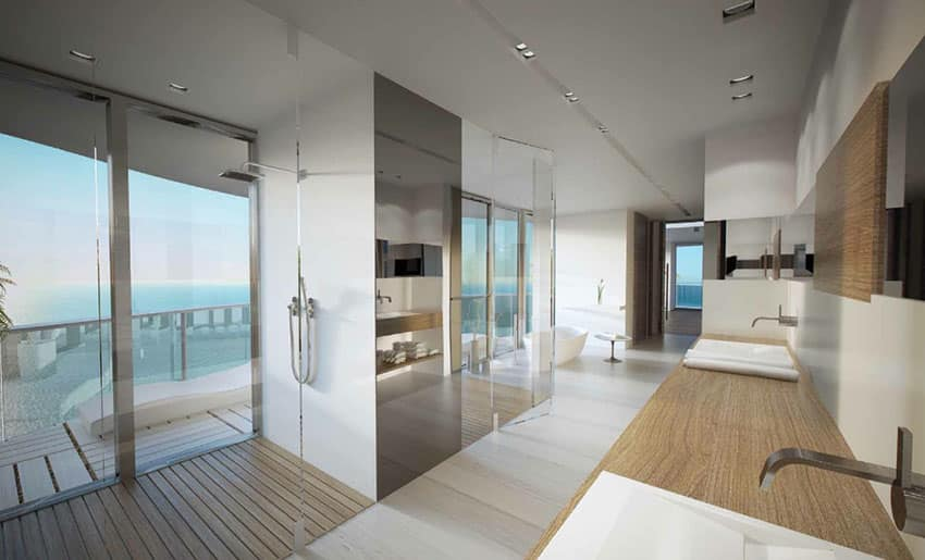 Luxury oceanview shower with floor to ceiling glass window
