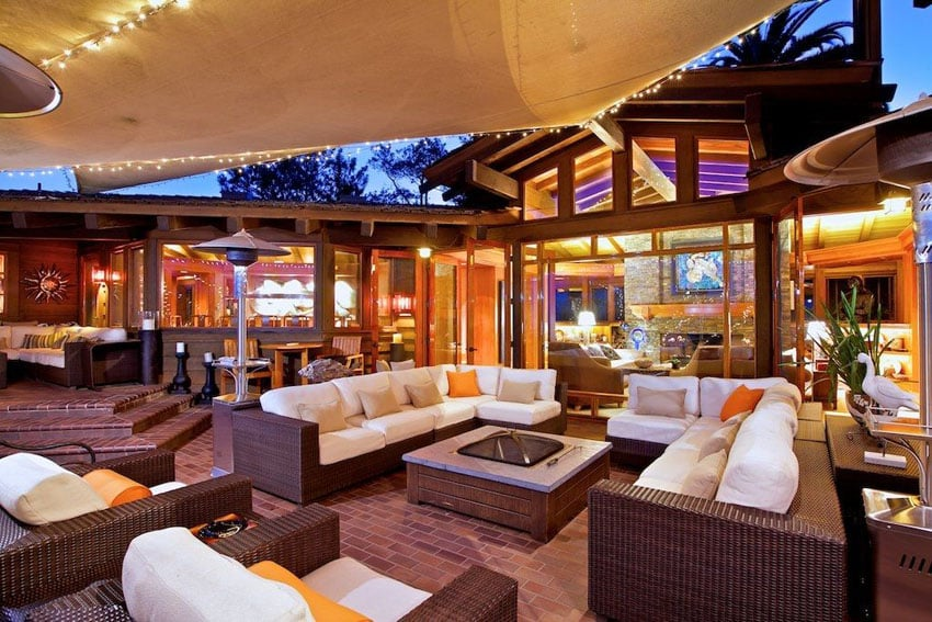 Luxury patio with outdoor rattan style furniture