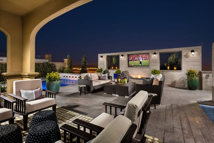 Luxury patio with outdoor television swimming pool and city views