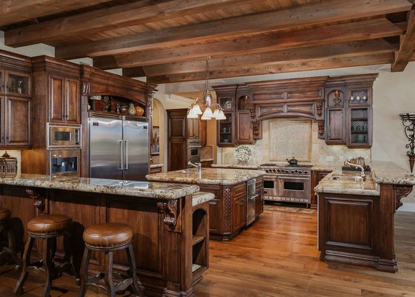 Luxury tuscan style kitchen with breakfast bar