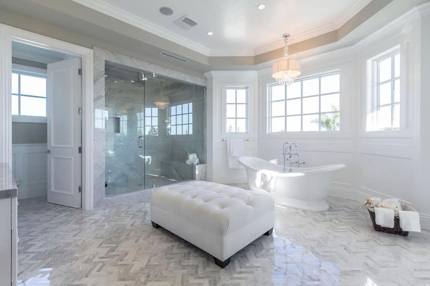 Gorgeous master bathroom with cast iron bathtub and glass shower
