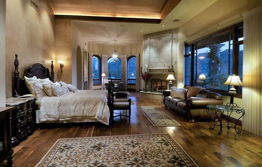 Mediterranean style master bedroom with American walnut wood flooring