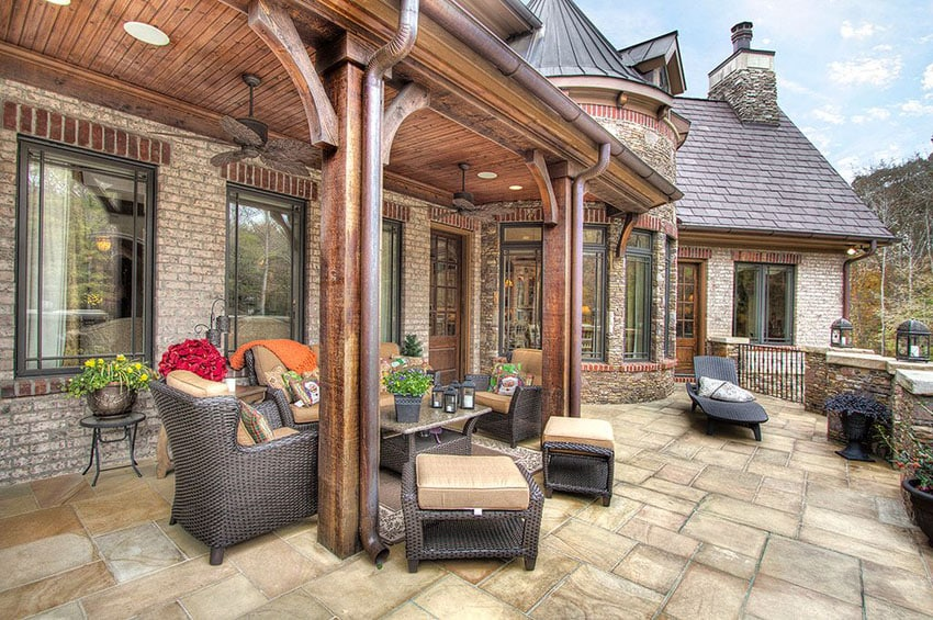 Mediterranean style patio with outdoor furniture
