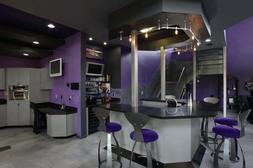 Modern home bar with purple theme accents