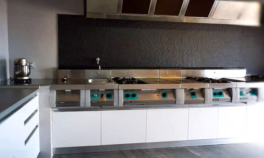 Modern kitchen with industrial gas burner stove