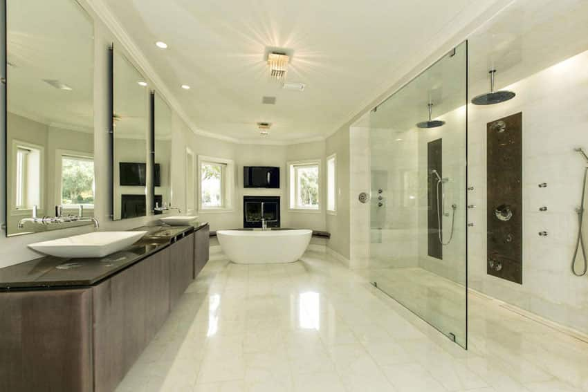 Modern master bathroom with large dual rainfall shower heads