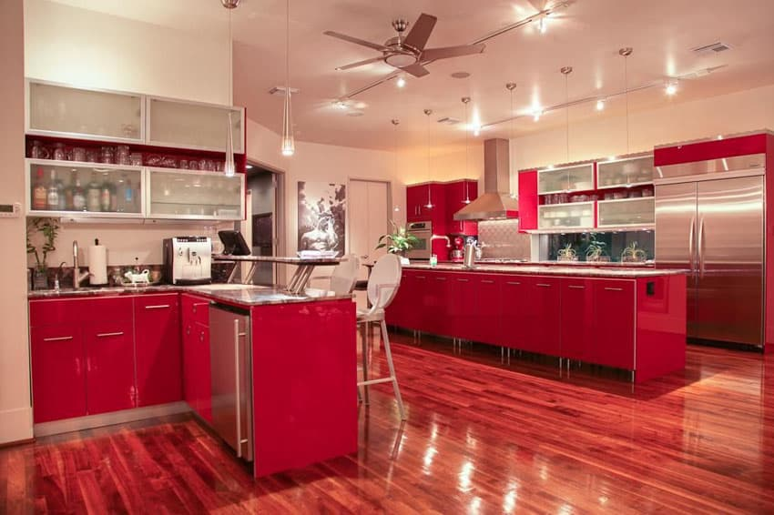 Modern red cabinet kitchen with breakfast bar dining counter