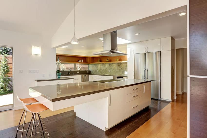 Modern white kitchen with stainless steel counter