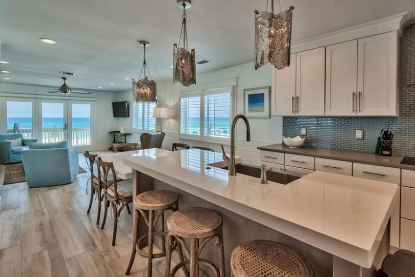 Oceanview Luxury Kitchen With Denali Quartz Counter And Breakfast Bar