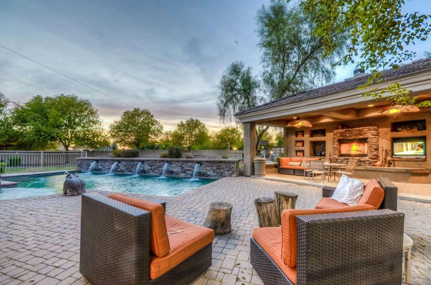 Patio overlooking swimming pool and covered outdoor living area