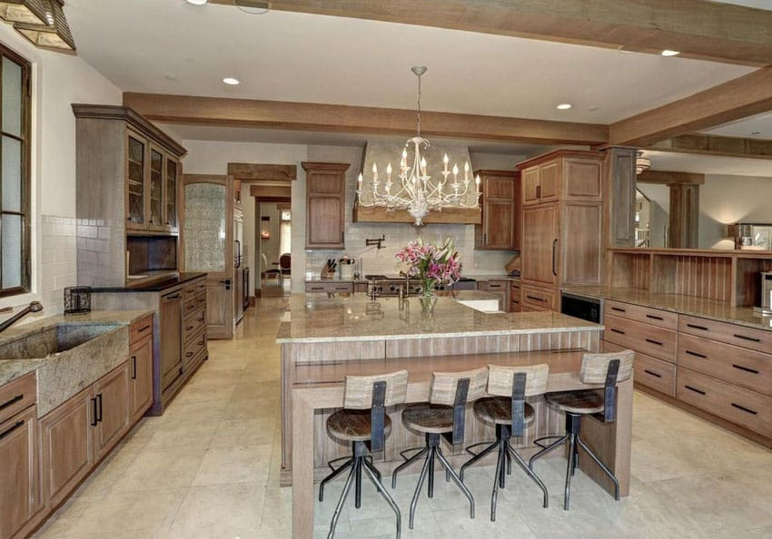 Solid wood cabinet kitchen with breakfast bar dining island and chandelier