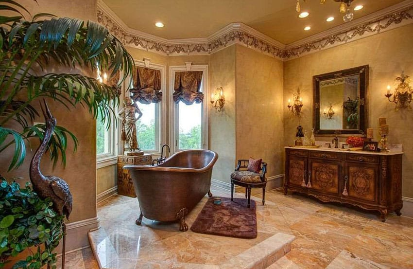 Traditional bathroom with copper clawfoot tub