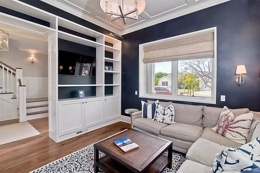 Traditional living room with dark walls and white built in bookshelf's