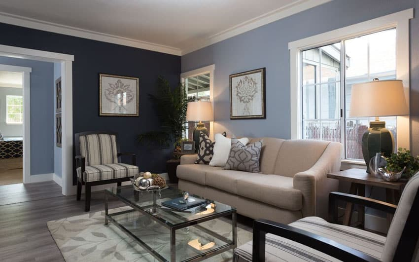 Blue walls living room crowdbuild for Shades of gray for living room