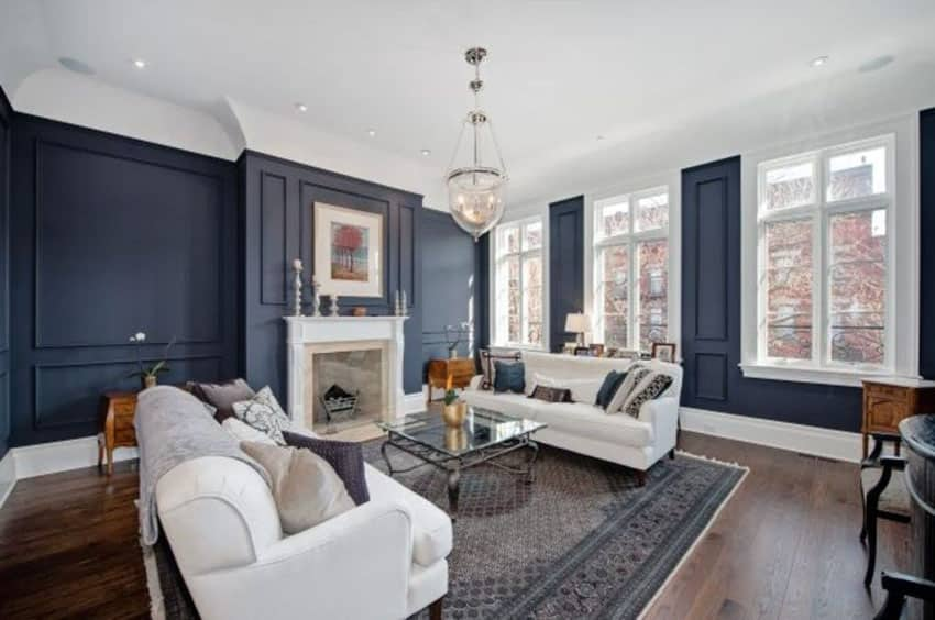 Traditional navy color living room