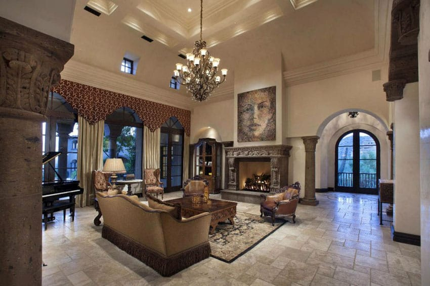 43 beautiful large living room ideas formal casual Luxury fireplaces luxury homes
