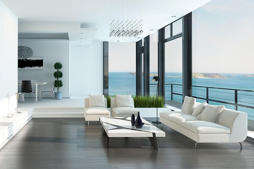 Beautiful ocean view living room with modern design