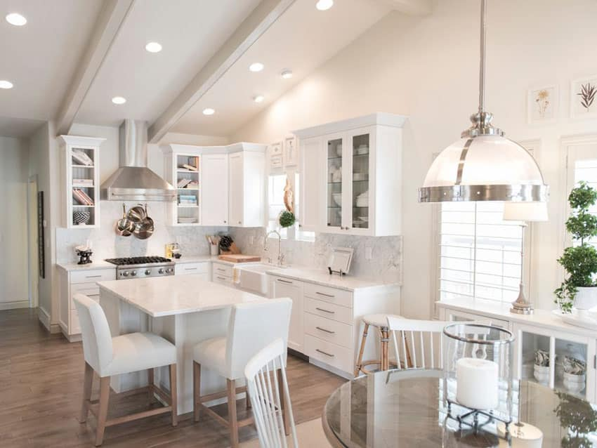 Bright white contemporary kitchen in l shape design