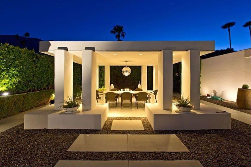 Contemporary minimalist gazebo in backyard