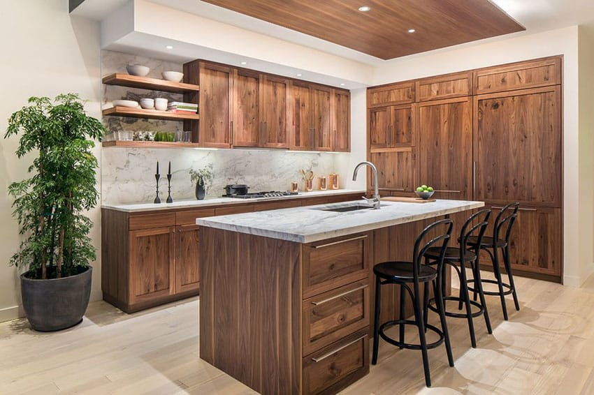 Contemporary kitchen with wood cabinets, open shelving and l shape