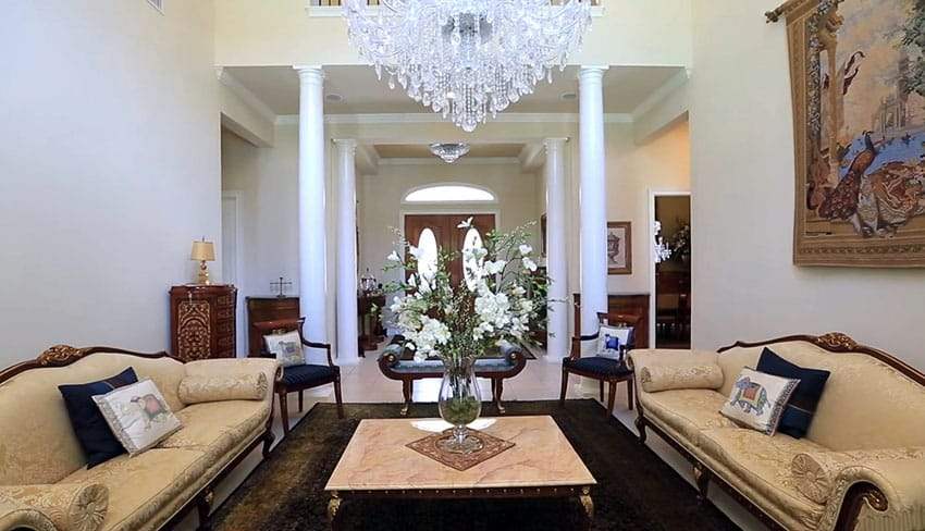 Luxury formal living room view to foyer