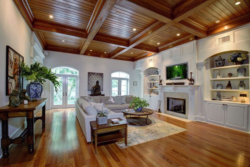 47 beautiful living rooms interior design pictures for Wood floor and ceiling