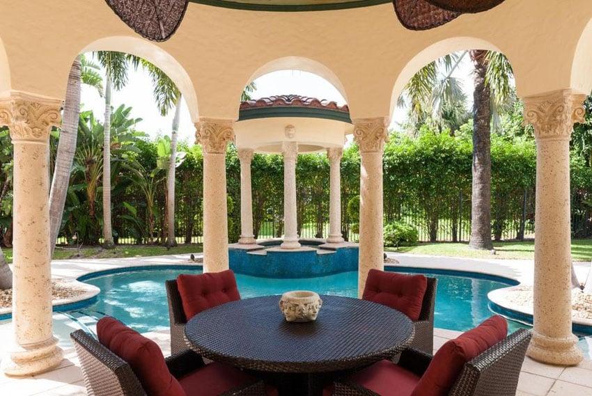 Luxury Mediterranean style swimming pool with sitting area gazebo and spa gazebo