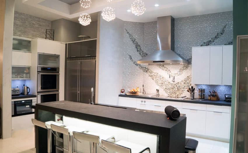 Modern kitchen with pattern backsplash