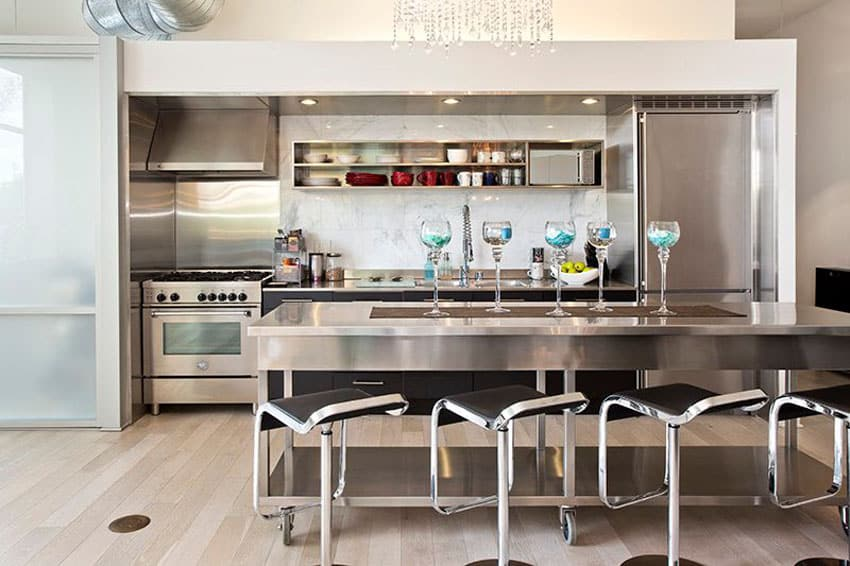 Modern kitchen with stainless steel counter island and backless bar stools