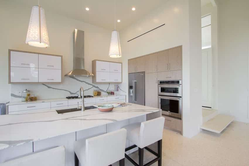 Modern kitchen with white lacquer cabinets and cone pendant lights