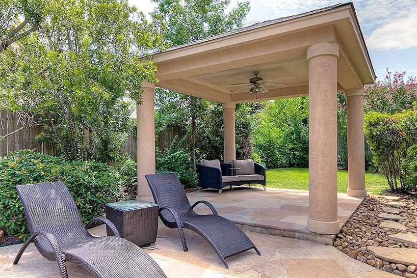 Modern patio gazebo with pillars and ceiling fan