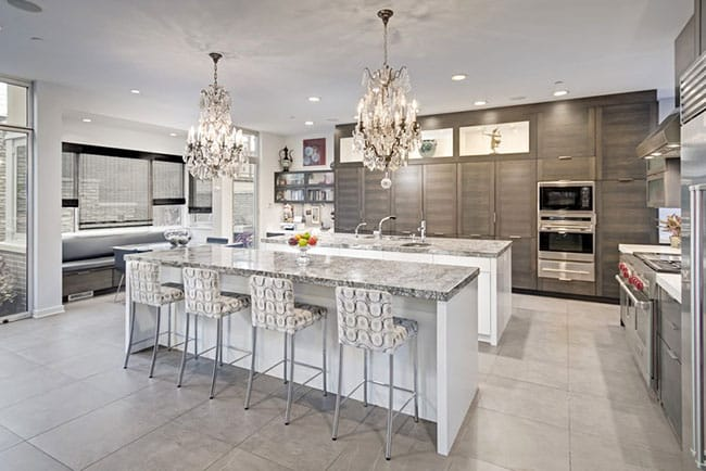 New construction luxury contemporary kitchen with dining island