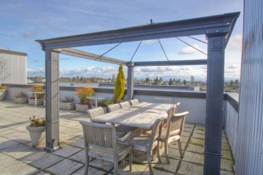 Rooftop patio with glass ceiling gazebo