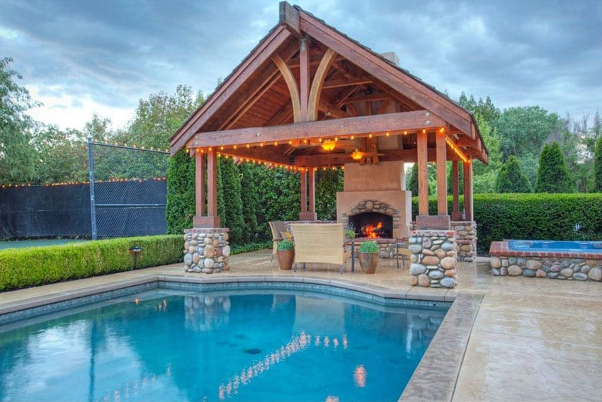 25 beautiful gazebos around pools for Pool with fireplace