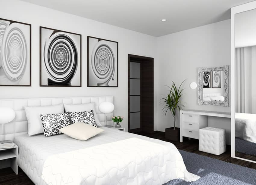Minimalist modern bedroom with black and white design accents