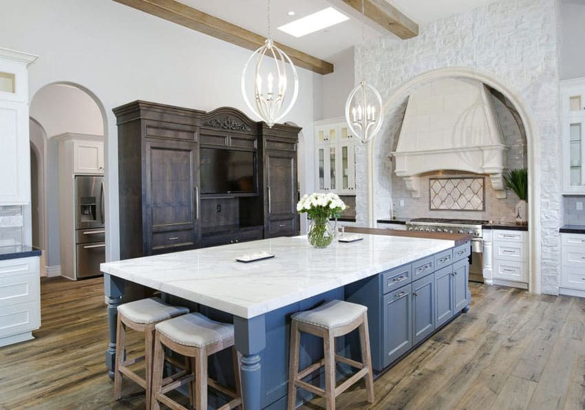 Country Kitchen With White Cabinets Hardwood Floors Gray Island
