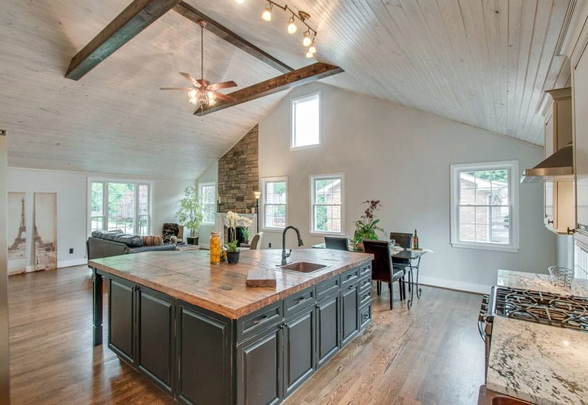 Beautiful Luxury Kitchen With Reclaimed Wood Counter Island And