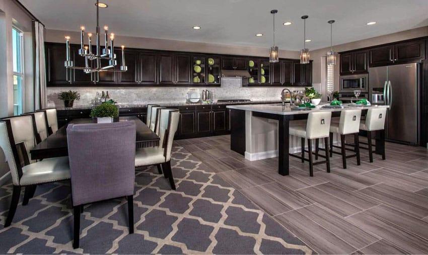 Beautiful traditional dark cabinet kitchen with modern chandelier