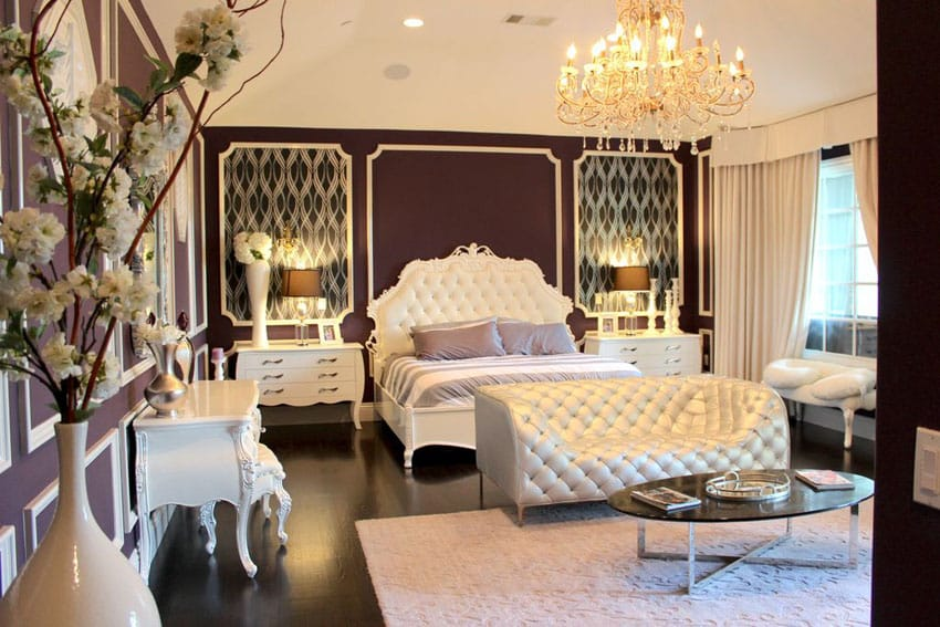 French provincial bedroom with white furniture, tufted couch and bed