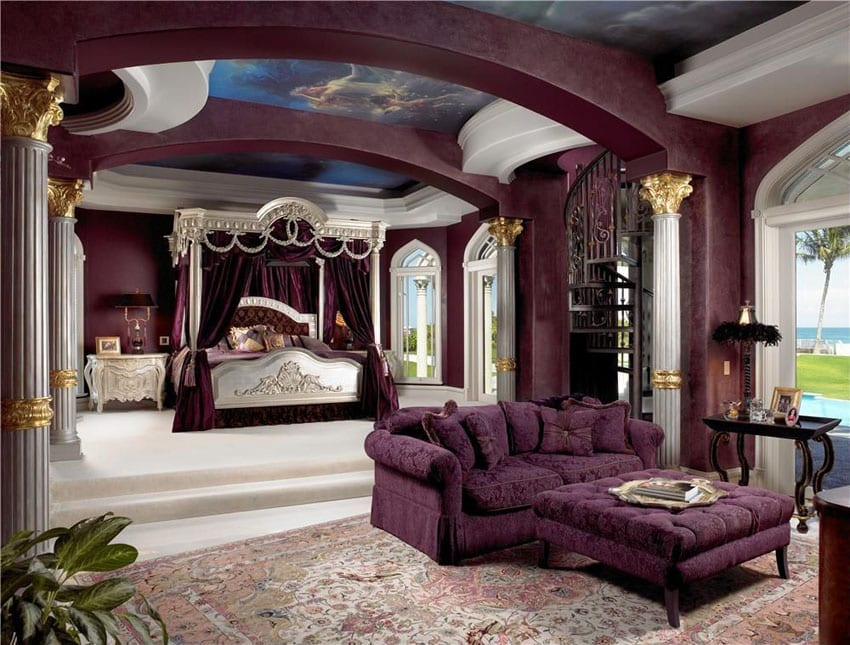 Luxury bedroom with purple decor, canopy bed with separate sitting area