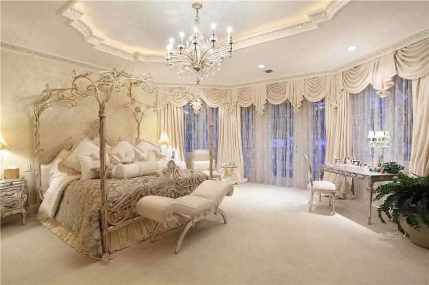 Luxury Parisian style master bedroom with beautiful decor canopy bed and chandelier